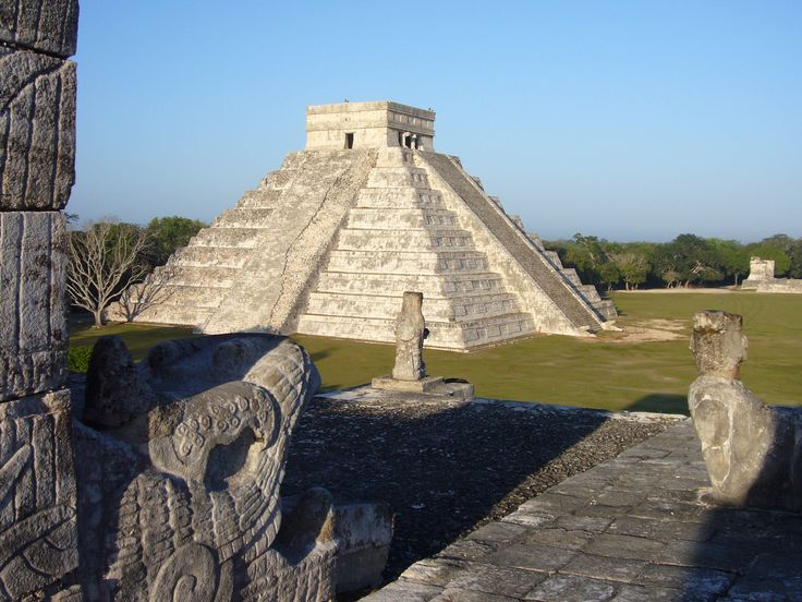 """Chichen Itza, meaning """"at the mouth of the Itza well"""", is a Mayan City on the Yucatan Peninsula in Mexico, between Valladolid and Merida. It was established before the period of Christopher Columbus and probably served as the religion center of Yucatan for a while."""