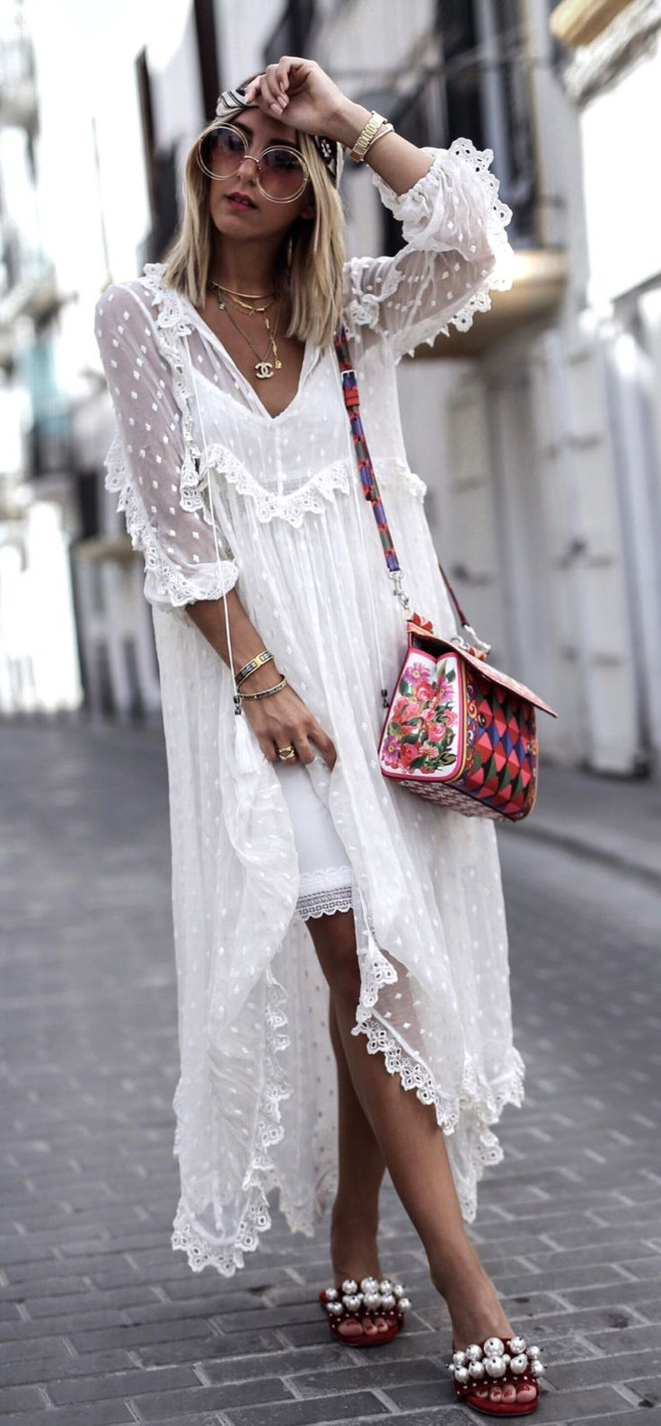 #summer #outfits White Tulle Maxi Dress + Floral Shoulder Bag