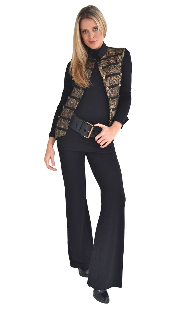 Basic Black : Decorative silk waistcoat | Philosophy clothing - designer clothing for women on the move