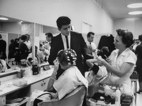 Women getting hair styled in beauty salon at saks fifth for 5th avenue beauty salon