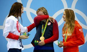 Jazz Carlin, left, with gold medallist Katie Ledecky of United States and bronze…