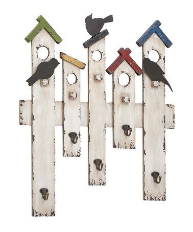 White Picket Fence Wall Hook Board is perfect, look nice in laundry room, kids room or garden wall! #zulilyfinds