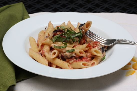 PENNE WITH ROASTED EGGPLANT, BASIL AND GOAT CHEESE RECIPE