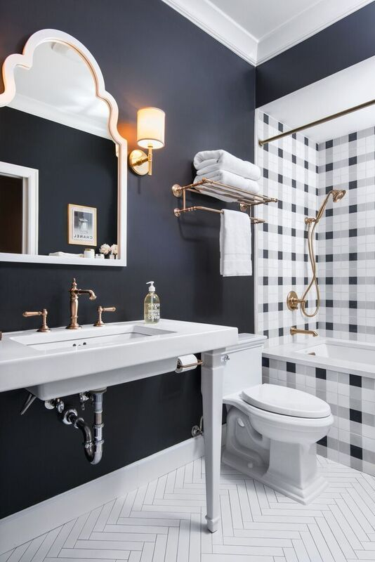 chic bathroom with amazing pattern | Caitlin Wilson