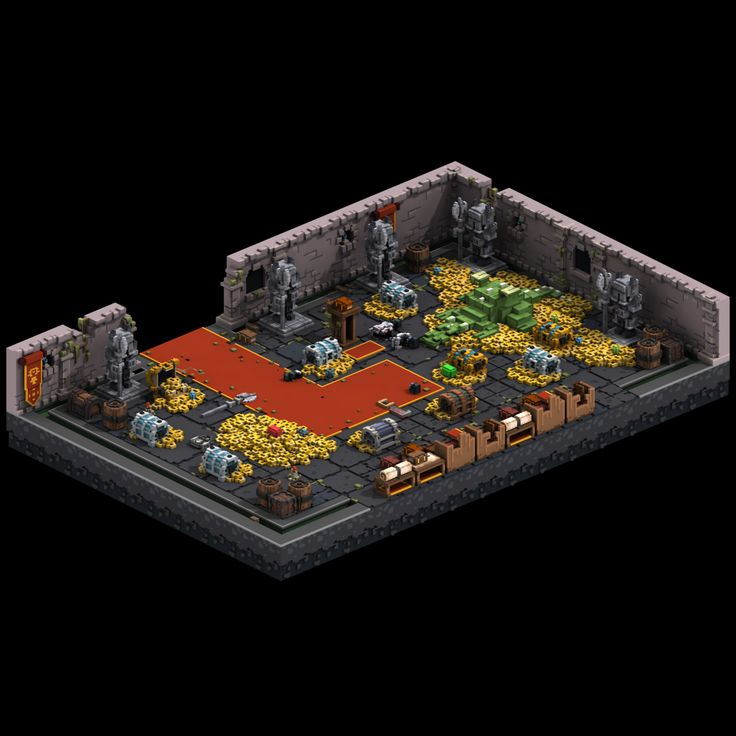 An accumulation of assets posted online to promote the growth of the roguelike built for Foxdawn.  Qubicle was the tool used for Modeling, Magica for rendering