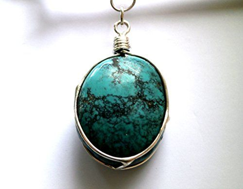 Big Turquoise Necklace, Large Silver Necklace, Large Turq... http://a.co/1FmGE6v