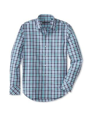 75% OFF Zachary Prell Men's Flaig Checked Long Sleeve Shirt (Teal/Blue)