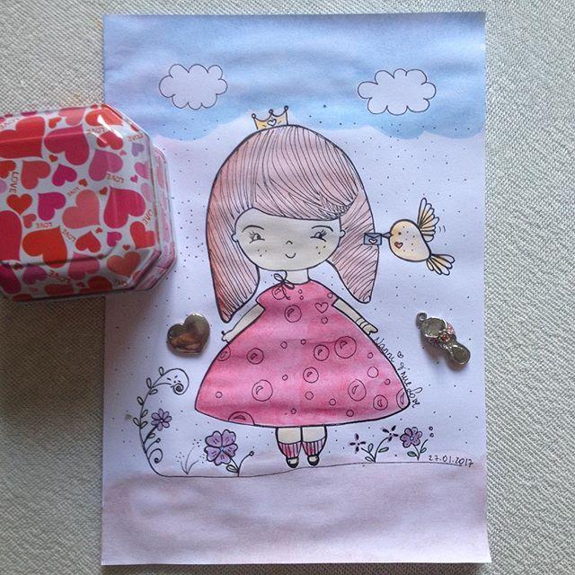 WEBSTA @ nanni.truelove - Capa para diário - Papel sulfite #doll #illustration #bird #flowers #princesa #nuvens #blue #sky #desenho #drawing #watercolor #ink #painting #love #amor #decoração #color #paper #papelaria #mydaily #kawaii #art #handmade