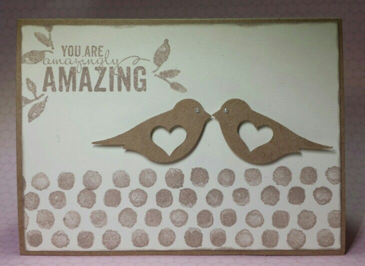 Stampin Up Anniversary Card designed by EEG April 2015 / inspired by hellostamper.blogspot.co.uk Products: SU Painted Petals stamp set, SU Bird and small Heart Punch, Paper Studio value pack note cards