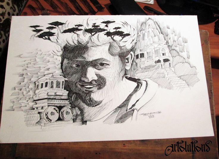 memories from khajuraho and hampi - pen drawing