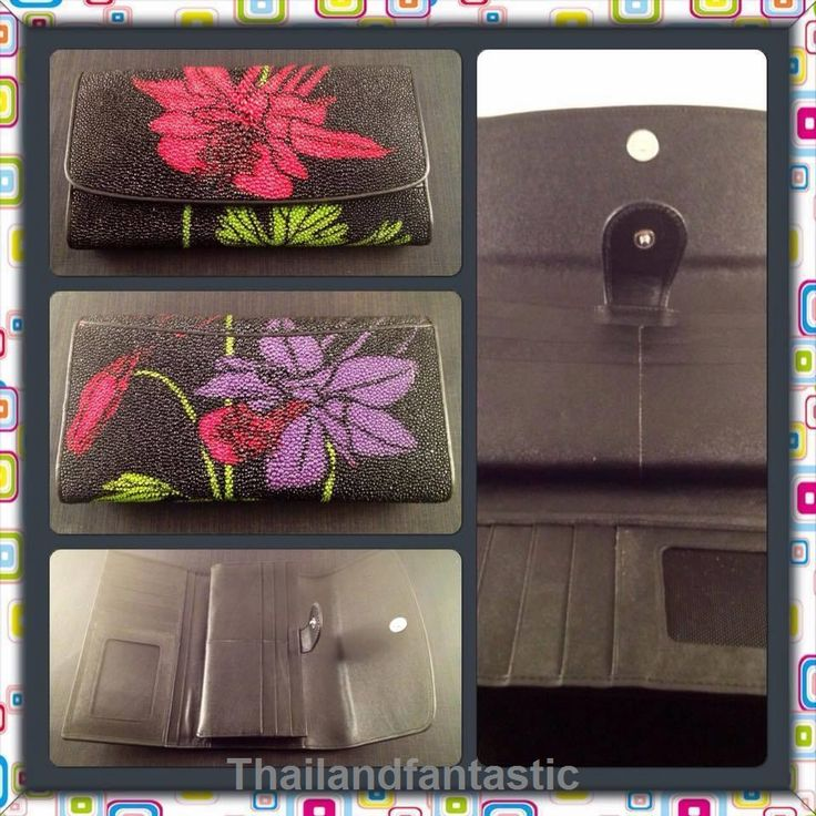 Black Flower Clutch Wallet Genuine Stingray Leather Skin Bag Purse Trifold  Price:US $102.99  http://www.ebay.com/itm/161900694193  #ebay #paypal #Thailandfantastic #Black #Flower #Clutch #Wallet #Genuine #Stingray #Leather #Skin #Bag #Purse #Trifold
