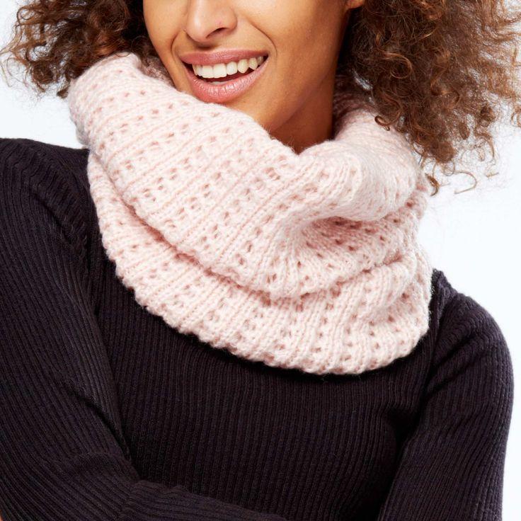 Bufanda tipo braga de punto calado                                                             rosa Mujer