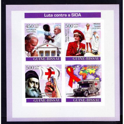 Guine Bi. MNH Imperf SS, Red Cross, Daunt, Ambulance, Mother Teresa, Nobel Peace, Pope John Paul II