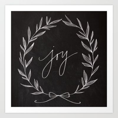 Chalkboard Art - Joy Wreath Art Print by Lianne Tokey // Baron Art Co. - $20.00