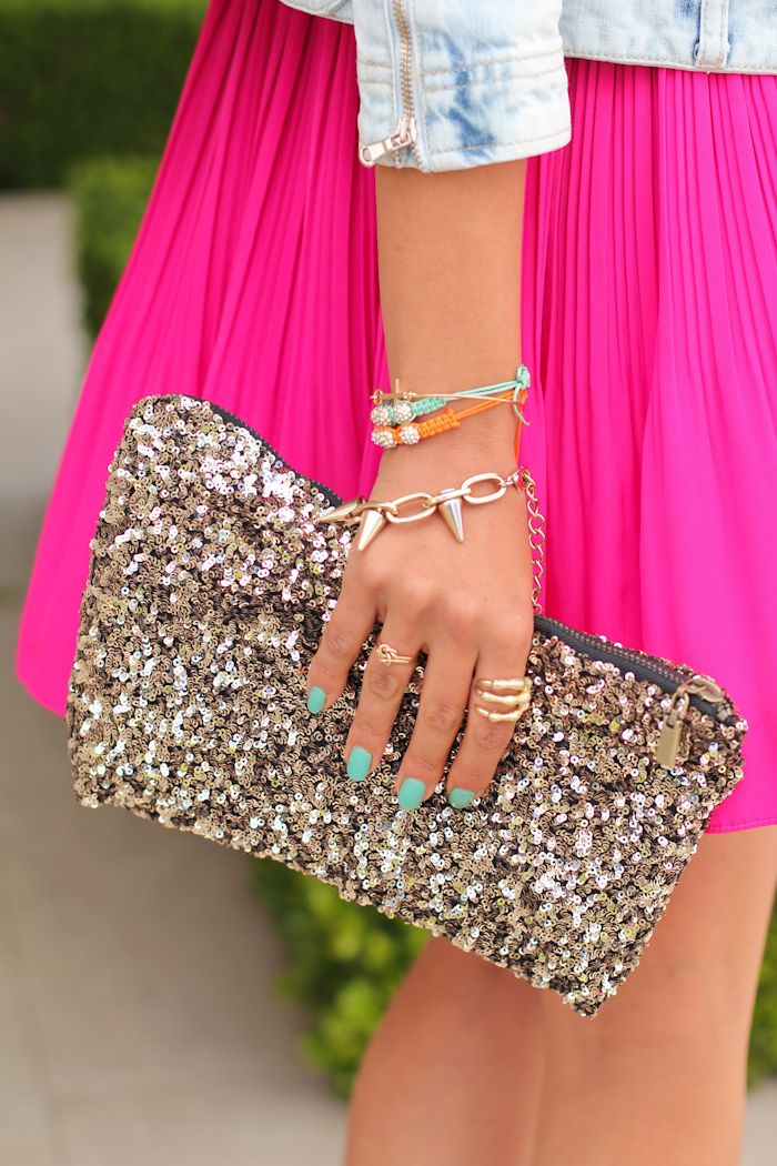 bold and bright skirts & clutches - yes please!