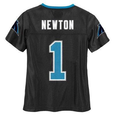 Carolina Panthers Girls' Cam Newton Glitter Numbers Jersey - Team Color XS, Multicolored