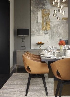 Dining Room - Love the chairs, Nota Bene table, large piece of art, chandelier of globes all set in a mode of uber modern.
