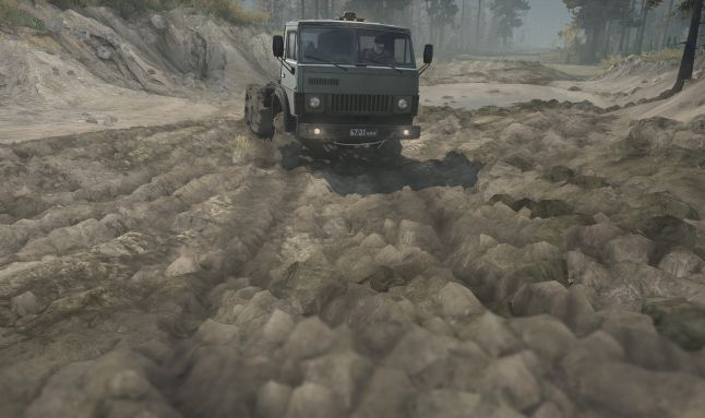 Here we present technical details behind rendering of Mud and Water in Spintires:MudRunner, a driving simulation game, developed by Saber Interactive and published by Focus Home Interactive on Xbox One, PlayStation 4 and PC (Steam).