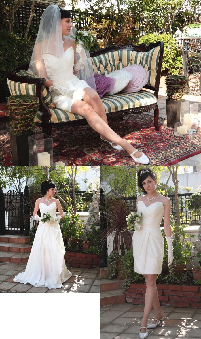 【楽天市場】ミニドレス ショートドレス ロングスカート オーバースカート 巻きスカート 2way ウェディングドレス(5号,7号,9号,11号,13号,15号,21号)二次会・花嫁・お呼ばれ・結婚式 挙式 パーティードレス カラードレス サテン タフタ 編み上げ nfl-order-2way-02:ウェディングドレスBlessDress