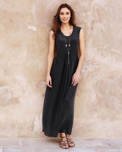 Poetry - Pleat Detail Silk Dress - This washed crepe-de-chine silk maxi dress is designed with box pleats from the neckline creating a full skirt that falls flatteringly to the floor. 100% silk