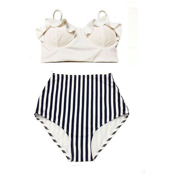 White Midkini Top and white/dark Navy Blue Striped High Waist Waisted... (1 050 UAH) ❤ liked on Polyvore featuring swimwear, bikinis, silver, women's clothing, bikini swimsuit, high-waisted bathing suits, high-waisted bikini, white high waisted bikini and retro high waisted bikini