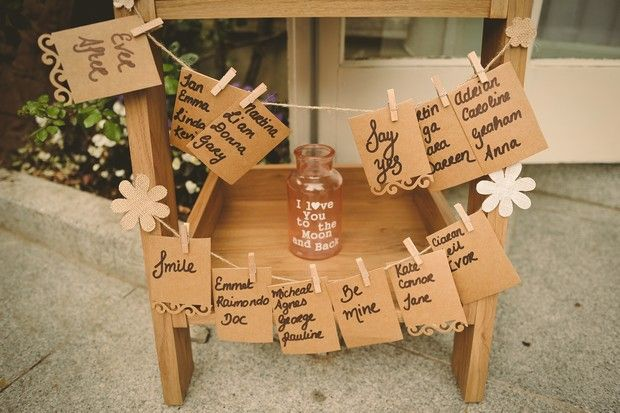 Alternative rustic style wedding table plan diy kraft paper for wedding reception at Conyngham Arms Hotek