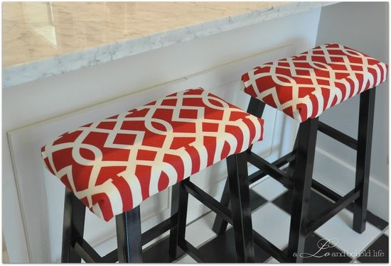 Target stools transformed with foam and fabric! @ Home DIY Remodeling