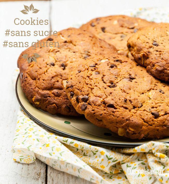 Maxi cookies sans sucre et sans gluten http://cuisine-saine.fr/recette-sans-gluten/maxi-cookies-sans-sucre-et-sans-gluten