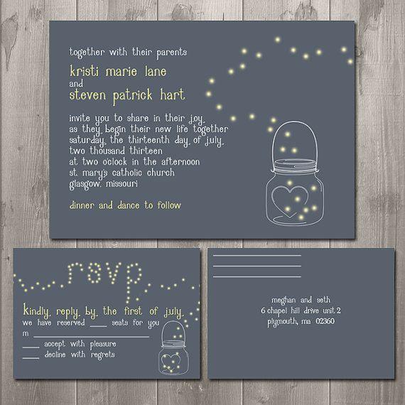 Mason Jar Fireflies Wedding Invitation and RSVP Set - DIY Printable Wedding Invitation