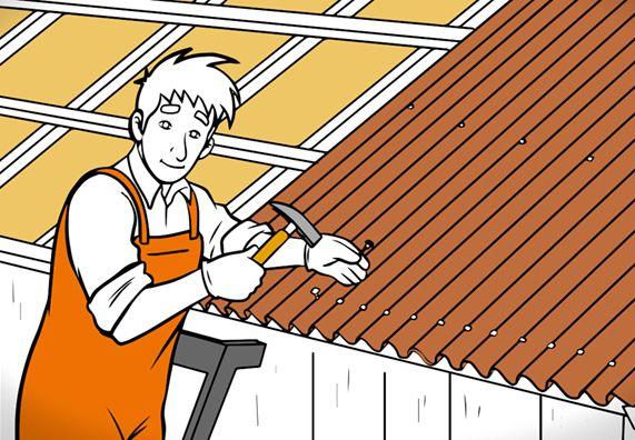 Dach Decken Mit Wellplatten In 7 Schritten Obi Dachkonstruktion Gartenhaus Dach Dachbau