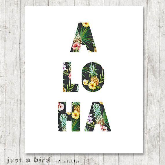 Aloha Print Tropical Home Decor Hawaii by Justabirdprintables