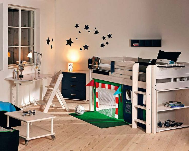 Not sure of the practicalities with rowdy boys but I like the concept of the soccer goal under the loft bed
