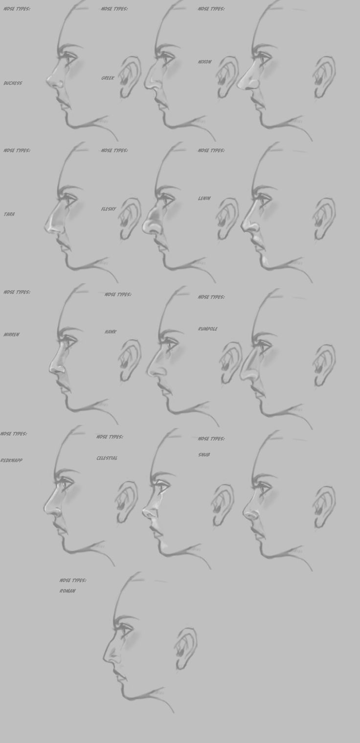 how to draw a sideways nose