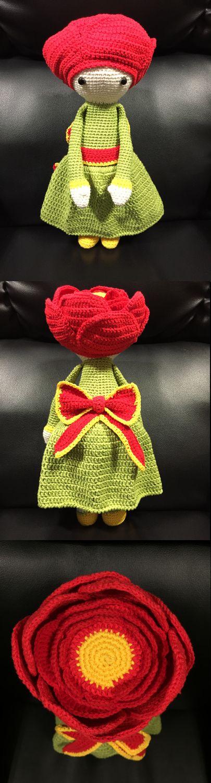 Peonia Pam flor made by Estrella R M - crochet pattern by Zabbez