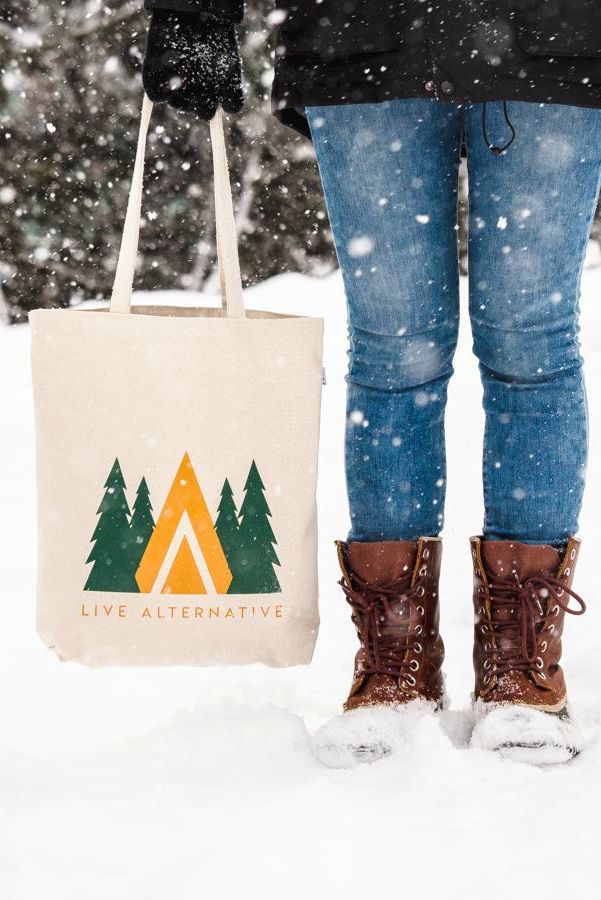 Sustainable canvas bag tote bag with a forest and teepee design. Sturdy recycled cotton bag made ethically.