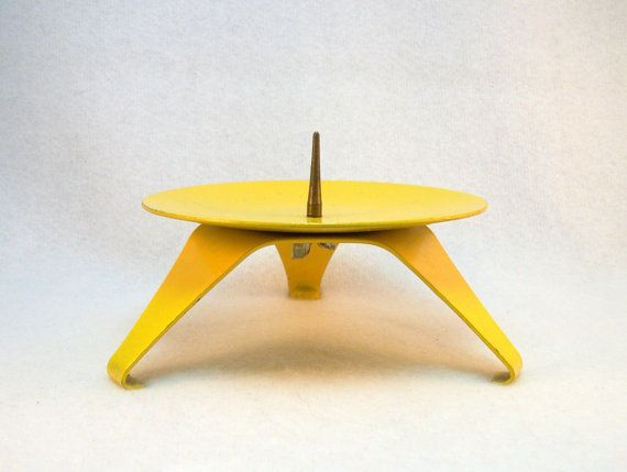 Mod Yellow Candle Holder - Vintage 60s from Japan