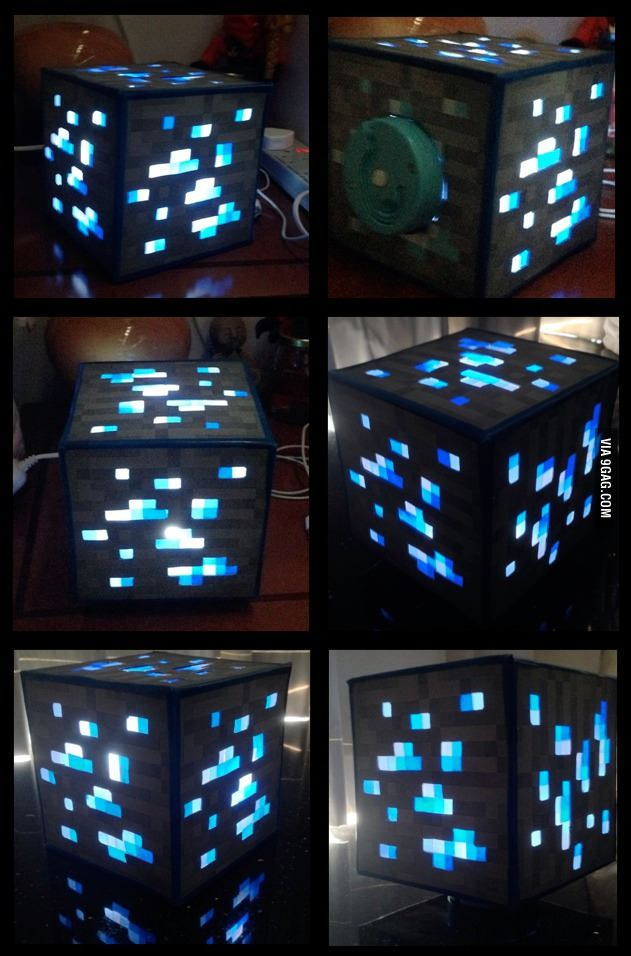 My little bro wanted a Minecraft night light, so I spent the whole weekend making this for less than $4