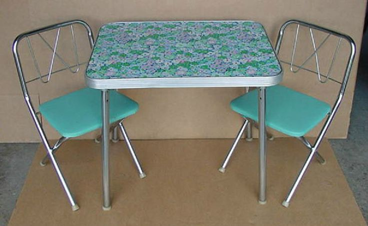 Vintage Childrens Retro Folding Table And Chair Set Groovy