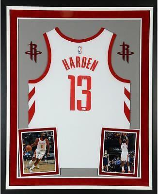 186b1a56589 James Harden Houston Rockets Deluxe Framed Signed Nike White Swingman Jersey   Basketball