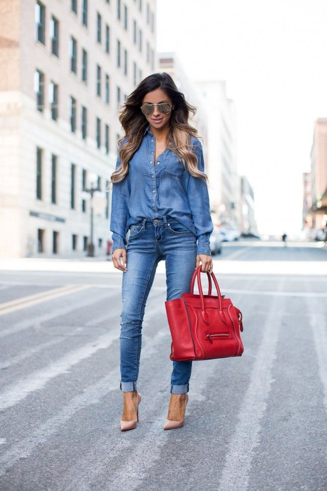 YMI Jeans Chambray Top. YMI Wannabettabutt Jeans. Christian Louboutin 'So Kate' Heels. Celine Red Luggage Bag. Le Specs Gold Aviator Sunglasses.