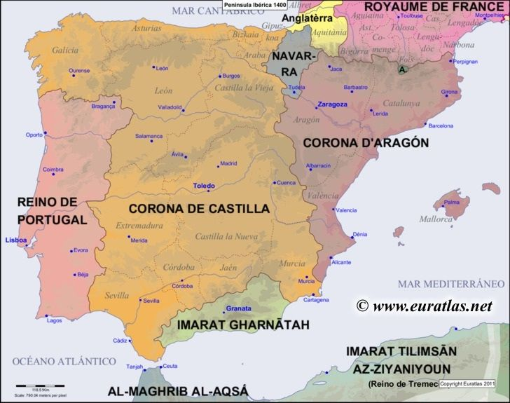 Map of the Iberian Peninsula in the year 1400