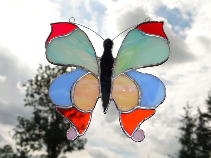 Mariposa del estilo de Tiffany Stained Glass Suncatcher por ArtesanaPL