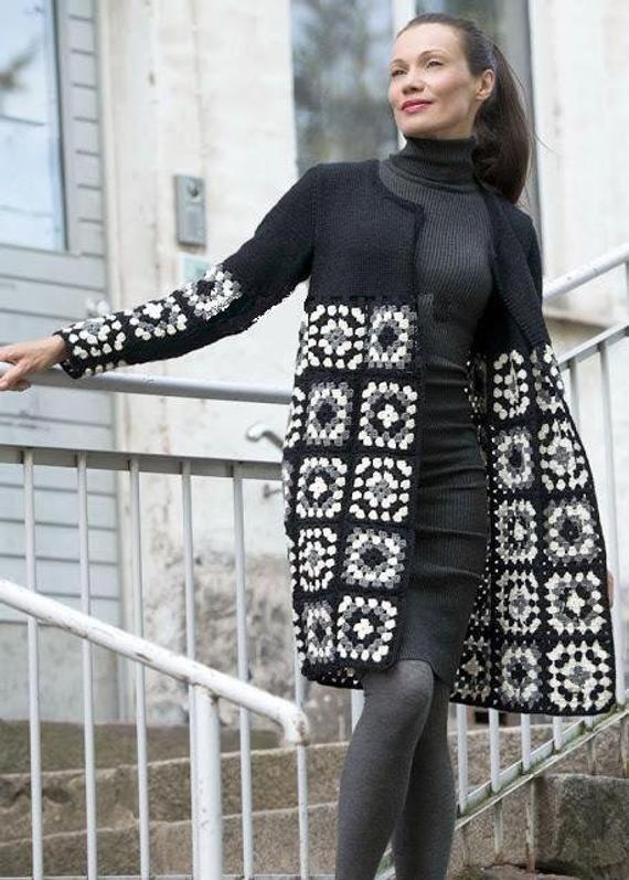 Black & White Plaid coat, crochet patchwork jacket, ladies Elegant Stylish sweater jacket, cardigans
