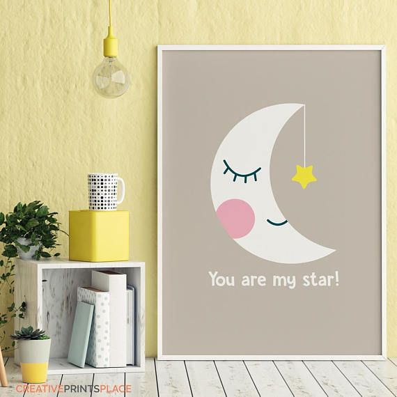 You Are My Star Printable Cute Moon Print Moon Illustration