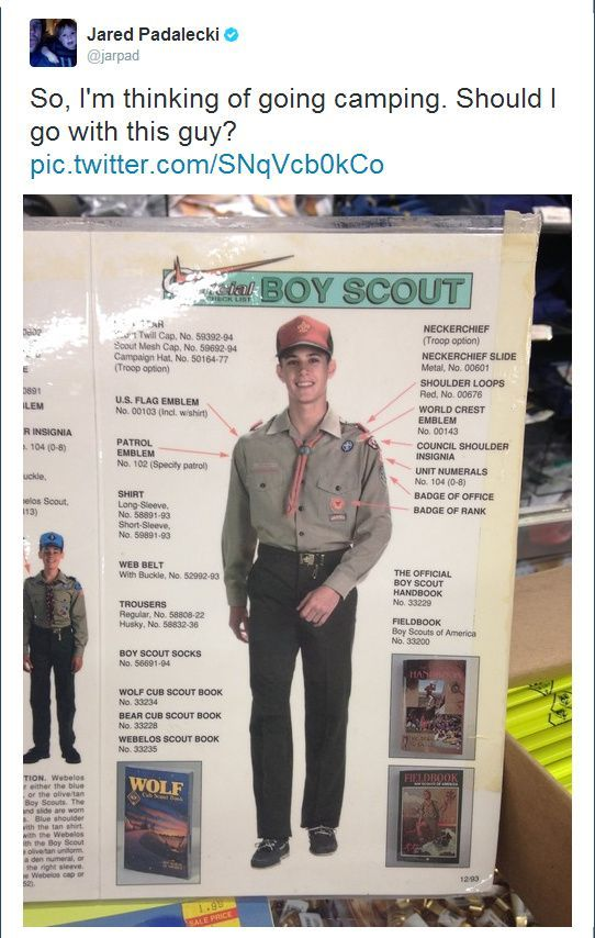 Baby Jensen, modeling in the Boy Scout catalog. (Tweet by Jared Padalecki)