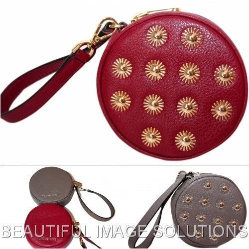 0227fc17c11f NWT MICHAEL KORS Round Studded Leather Wristlet Coin Purse Pouch # MichaelKors #CoinPurse