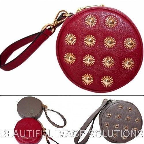 80ba7c2d9802 NWT MICHAEL KORS Round Studded Leather Wristlet Coin Purse Pouch # MichaelKors #CoinPurse