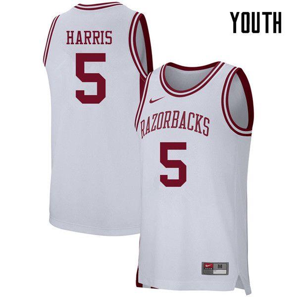 Youth 5 Jalen Harris Arkansas Razorbacks College Basketball 39 39jerseys Sale White Arkansas Razorbacks Football And Basketball Razorbacks