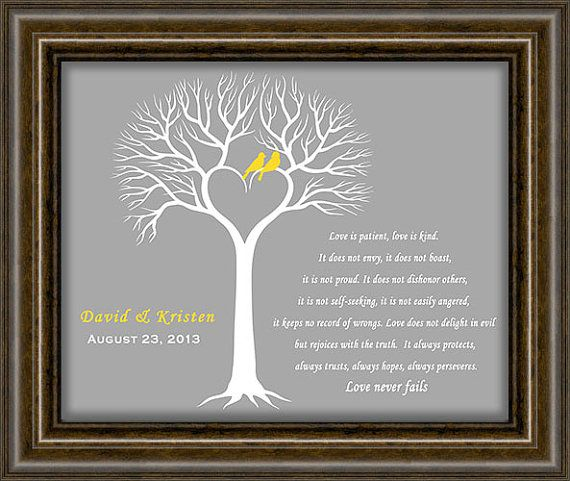 Wedding Date - First Anniversary Paper Gift - Wedding Tree Print ...