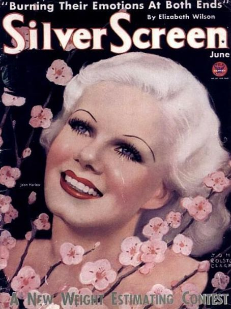 Jean Harlow on the cover of Silver Screen magazine, June 1934, USA.